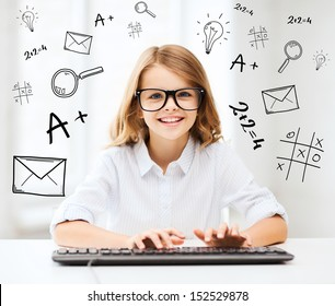 education, school and future technology concept - little student girl with keyboard and imaginary screen at school