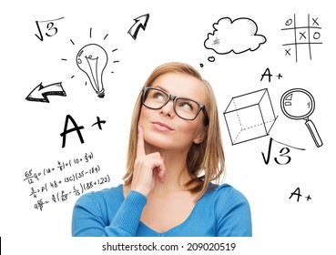 education, school, people and gesture concept - smiling woman in glasses thinking or dreaming