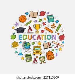Education set  in the form of a circle.With:hat graduate,scroll, apple,books,alarm clock, briefcase, backpack,bus,globe,ruler,microscope