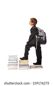 Education success graph - successful schoolboy isolated on white background