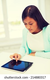 education, technology and internet concept - smiling student girl with tablet pc