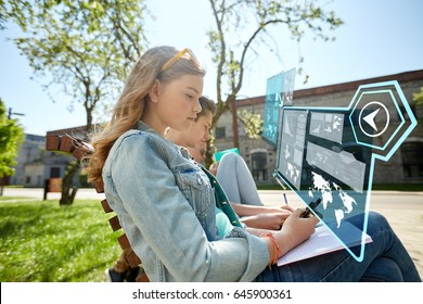 education, technology and people concept - group of students with smartphone and notebooks outdoors