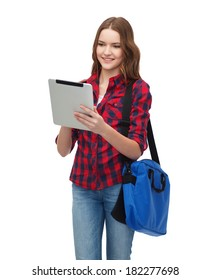 education, technology and people concept - smiling female student with tablet pc and bag