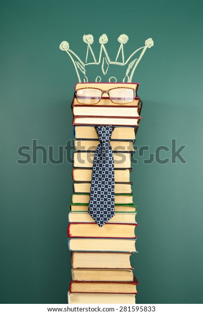Education unusual concept, book as a king of knowledge
