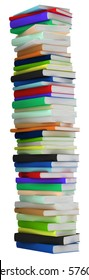Education and wisdom. Tall heap of hardcovered books isolated over white. Extralarge resolution
