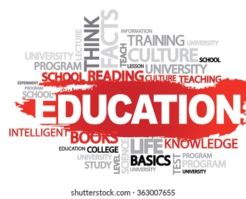 EDUCATION. Word business collage background
