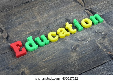 Education word on wooden table