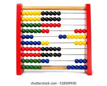 Educational abacus isolated on white background