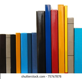 Educational books in front-side row