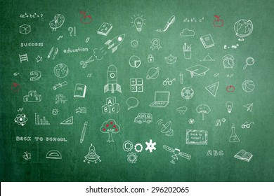 Educational childhood imagination and inspiration with students' hand drawing doodle on teacher's school green chalkboard in class for daydreaming mind map and stem education concept
