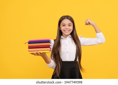 educational childrens literature. successful intellectual child. pass exams perfectly. bookish kid in grammar school. happy teen girl hold books heap. success. back to school. education. book store.