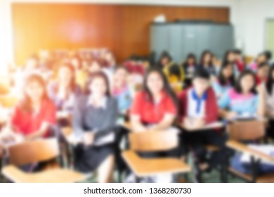Educational classroom concept in blurred background style. The blurry image of students studying or training at the learning center