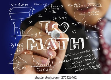 Educational concept image of a man holding marker and write I Love Math with mathematics formulas doodle over blue background
