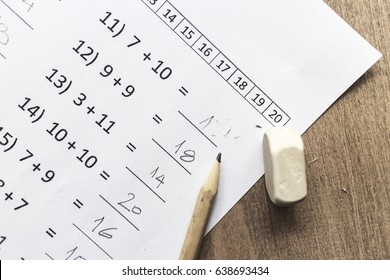 Educational concepts, math test in close up