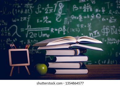 Educational equipment, boards and books Education concept With copy space