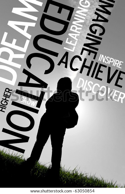 An educational montage or layout with a back-lit silhouette of a female student with her backpack.  Plenty of copy space.  Selective color.