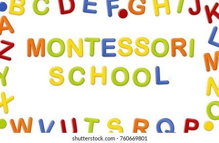 Educational Systems made out of fridge magnet letters isolated on white background: Montessori School