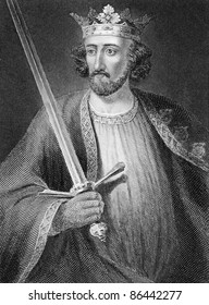 Edward I (1239-1307). Engraved by anonymous engraver and published in History of England, United Kingdom, 1845.