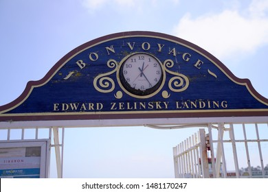 The Edward Zelinsky Landing sign with a clock. Taken in Tiburon, CA August 17, 2019.