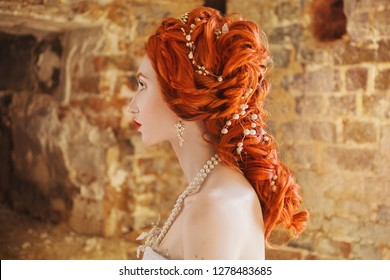 533d67f6420 Edwardian redhead princess with perming hairstyle. Fabulous rococo queen  with historic hairdo against backdrop of