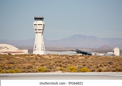 EDWARDS AFB, CA - OCT 17: General Dynamics F-16 landing at Flight Test Nation 2009, October 17, 2009, Edwards Air Force Base, CA