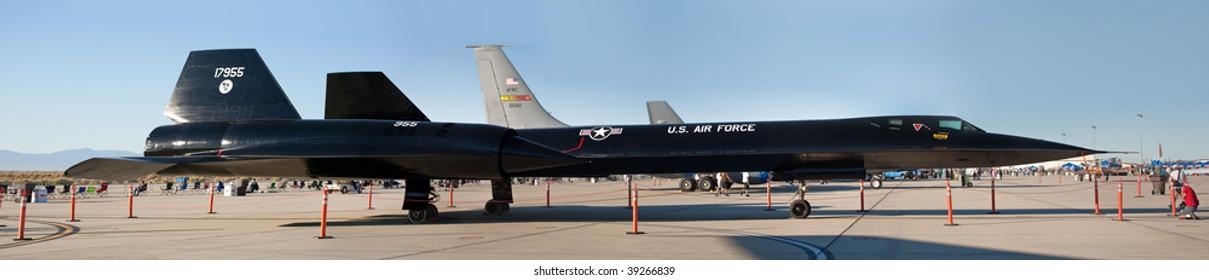 EDWARDS AFB, CA - OCT 17: Lockheed SR-71 Blackbird reconnaissance aircraft on display at Flight Test Nation 2009, October 17, 2009, Edwards Air Force Base, CA