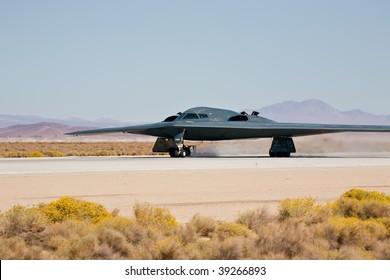 "EDWARDS AFB, CA - OCT 17: Northrop Grumman B-2 Spirit ""Spirit Of New York"" takes off at Flight Test Nation 2009, October 17, 2009, Edwards Air Force Base, CA"