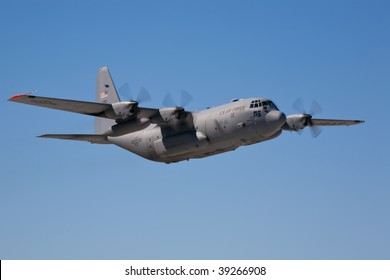 EDWARDS AFB, CA - OCT 17: Lockheed Martin C-130 Hercules transport aircraft performs at Flight Test Nation 2009, October 17, 2009, Edwards Air Force Base, CA