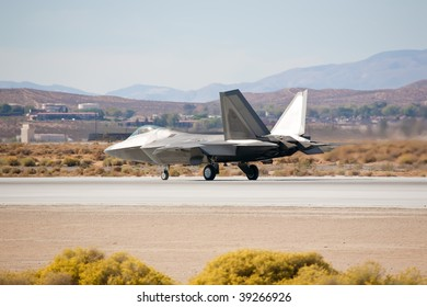 EDWARDS AFB, CA - OCT 17: Lockheed Martin/Boeing F-22 Raptor taxiing to the runway at Flight Test Nation 2009, October 17, 2009, Edwards Air Force Base, CA