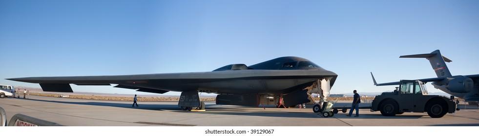 "EDWARDS AFB, CA - October 17: Northrop Grumman B-2 Spirit ""Spirit Of New York"" on display at Flight Test Nation 2009, October 17, 2009, Edwards Air Force Base, CA"