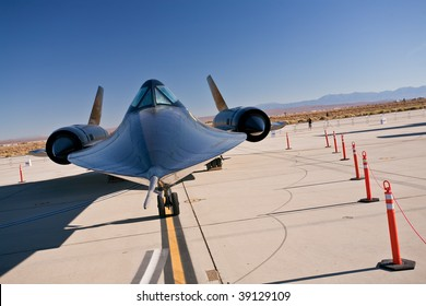 EDWARDS AFB, CA - October 17: Lockheed SR-71 Blackbird reconnaissance aircraft on display at Flight Test Nation 2009, October 17, 2009, Edwards Air Force Base, CA