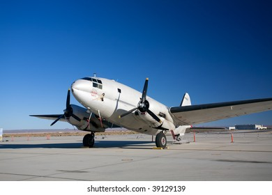 "EDWARDS AFB, CA - October 17: Curtiss-Wright C-46 Commando ""China Doll"" transport aircraft on display at Flight Test Nation 2009, October 17, 2009, Edwards Air Force Base, CA"