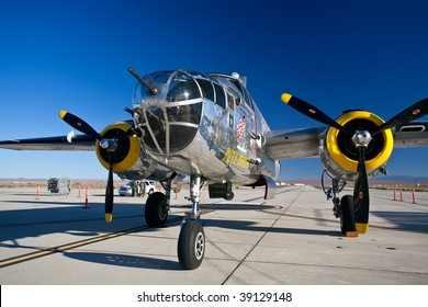 EDWARDS AFB, CA - October 17: North American B-25 Mitchell WWII-era bomber aircraft on display at Flight Test Nation 2009, October 17, 2009, Edwards Air Force Base, CA