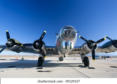 EDWARDS AFB, CA - October 17: Boeing B-17 Flying Fortress WWII-era bomber aircraft on display at Flight Test Nation 2009, October 17, 2009, Edwards Air Force Base, CA