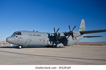 "EDWARDS AFB, CA - October 17: Lockheed Martin C-130J ""Super"" Hercules transport aircraft on display at Flight Test Nation 2009, October 17, 2009, Edwards Air Force Base, CA"