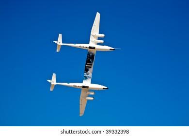 EDWARDS AFB, CA - OCTOBER 17: Scaled Composites White Knight Two performs at Flight Test Nation 2009, October 17, 2009, Edwards Air Force Base, CA