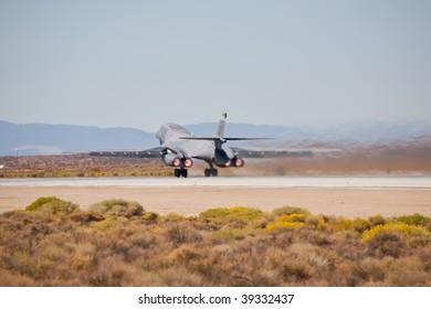 EDWARDS AFB, CA - OCTOBER 17: Rockwell B-1 Lancer supersonic bomber taking off at Flight Test Nation 2009, October 17, 2009, Edwards Air Force Base, CA