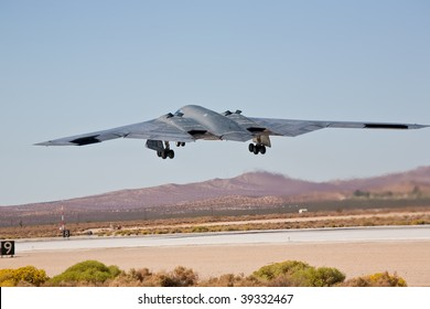 "EDWARDS AFB, CA - OCTOBER 17: Northrop Grumman B-2 Spirit ""Spirit Of New York"" takes off at Flight Test Nation 2009, October 17, 2009, Edwards Air Force Base, CA"