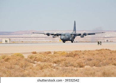 EDWARDS AFB, CA - OCTOBER 17: Lockheed Martin C-130 Hercules transport aircraft landing at Flight Test Nation 2009, October 17, 2009, Edwards Air Force Base, CA