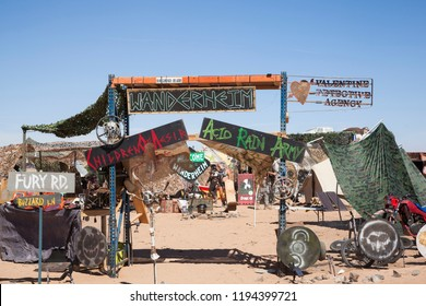 Edwards, CA/USA - September 2018: The annual Wasteland Weekend post-apocalyptic festival takes place in the Mojave Desert where attendees live in a re-creation of the Mad Max films for five days.