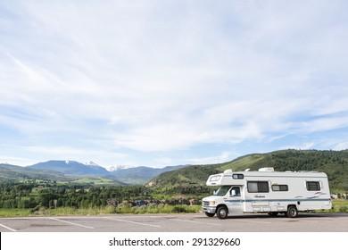 Edwards, Colorado, USA-June 21, 2015. Motorhome parket at scienic view near I70.