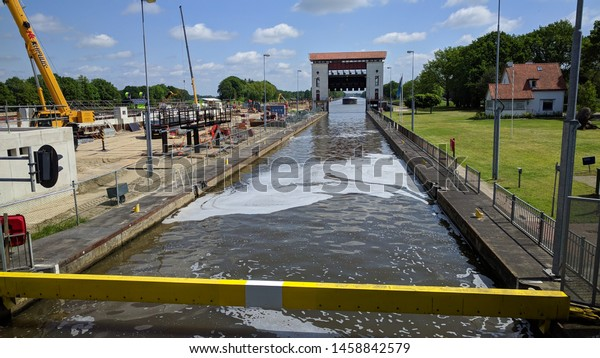 EEFDE LOCK COMPLEX, THE NETHERLANDS - MAY 2019:  Expansion of the lock complex, building a second lock chamber.