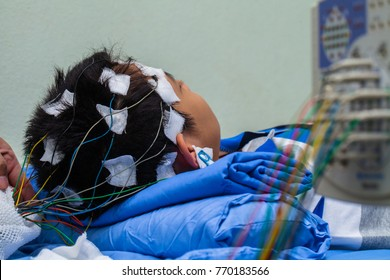 EEG,Electroencephalography procedure ,Encephalography of little boy