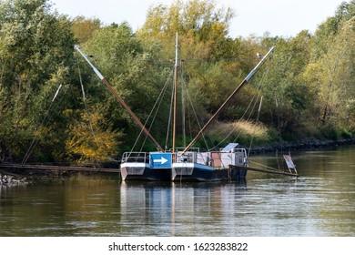 Eel fishing boat on the river Weser near Drakenburg in summer
