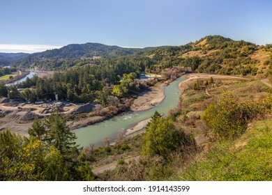 Eel river valley in California, viewed from above panorama