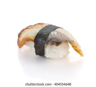 Eel sushi nigiri isolated on white background