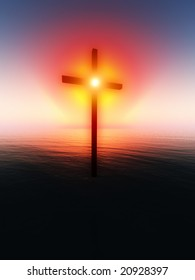 Eeligious cross floating impossibly over a sunset sea.
