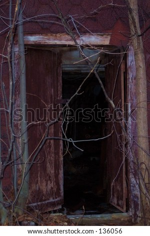 eerie abandoned house door open put stock photo edit now 136056