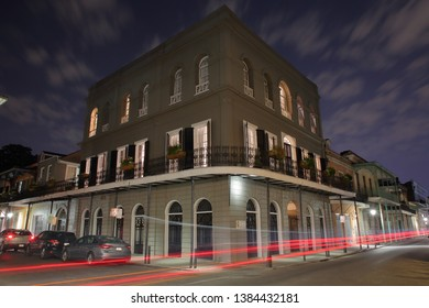 An eerie long exposure nighttime image of the legendary and historic LaLaurie Mansion in the French Quarter at the corner - New Orleans, Louisiana, USA - April 29, 2019