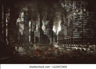 Eerie night scene of the aftermath of an explosion or cataclysmic fire in the CBD of a modern city with smoke and burning debris